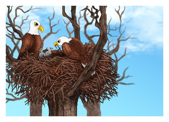 Cartoon Painting Illustration - Bald Eagles