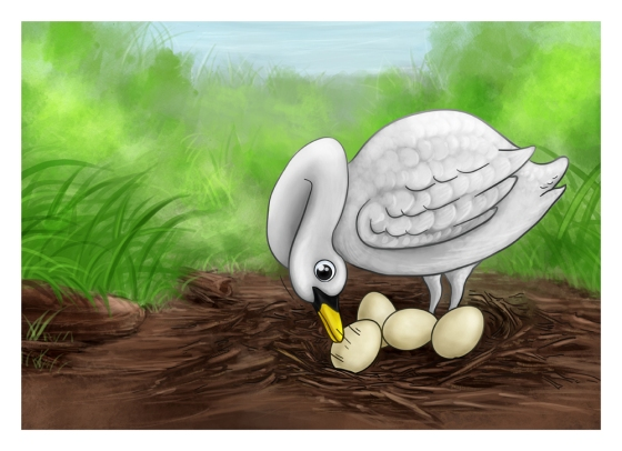 Cartoon Painting Illustration - Turning Eggs